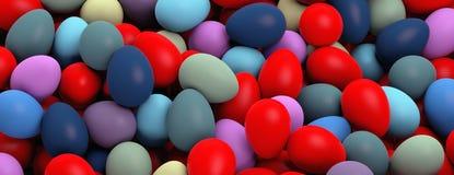 Easter preparation. Various colors eggs pile, texture background, banner. 3d illustration stock illustration