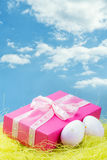 Easter present with easter eggs and sky. Easter present with easter eggs and blue sky Stock Photo