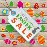 Easter Price Sticker Wood Royalty Free Stock Photos