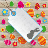 Easter Price Sticker Wood. Infographic with price sticker the wooden background Stock Photo