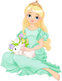 Easter princess. Illustration of beautiful princess holds cute rabbit Stock Photography