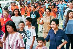 Easter procession around the church of Leon, Philippines royalty free stock photography