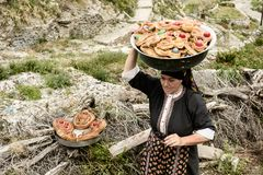 Easter procession in Olympos, Karpathos island royalty free stock images