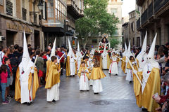 Easter procession in Palma de Mallorca. PALMA DE MALLORCA, SPAIN - APRIL 14, 2017: Easter procession  in Palma. The island of Mallorca receives 10 million Royalty Free Stock Image
