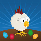 Easter - punk rooster. Easter - funny punk rooster with easter eggs Royalty Free Stock Images