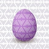 Easter purple egg. Decorated festive egg with simple abstract decoration. isolated. Spring holiday. Vector Illustration. For decoration, prints, postcards Stock Photo