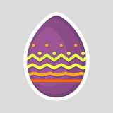 Easter purple egg icon isolated on a gray background with colored contrasting ornament of geometric line, zig zag and points. Royalty Free Stock Photos