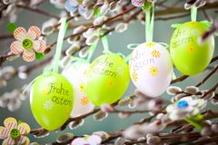 Easter Pussy-willow and Easter egg on wooden background. Happy. Easter card. with Happy Easter text in german stock images