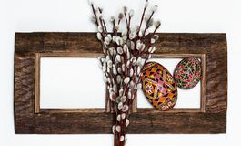 Easter Pussy-willow and Easter egg on wooden background. Happy Easter card. with Happy Easter royalty free stock image
