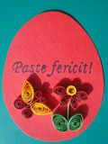 Easter quilling handmade greeting card Stock Images