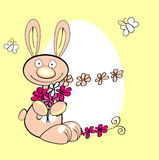 Easter rabbit. With bouquet flowers stock illustration