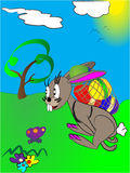Easter rabbit. Vector of easter rabbit running over the meadow Stock Photo