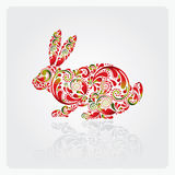 Easter rabbit. Easter rabbit made of leaf pattern stock illustration
