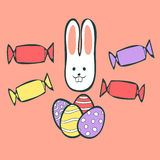 Easter Rabbit. With eggs and candies Royalty Free Illustration