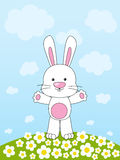Easter rabbit. On floral meadow Royalty Free Stock Image