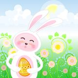 Easter rabbit. Easter picture with rabbit and egg on a sunny day Royalty Free Stock Photography
