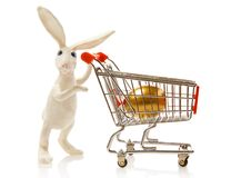 Easter rabbit. Carries the cart with gold egg Royalty Free Stock Images