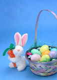 Easter rabbit. Holiday concept: Easter basket and bunny Royalty Free Stock Images