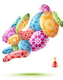 Easter rabbit. Colorful Ester card with rabbit and eggs Royalty Free Stock Image