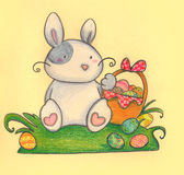 Easter rabbit. An easter funny white rabbit with coloured eggs. Pastels Stock Image