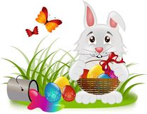 Easter rabbit with basket Royalty Free Stock Photos