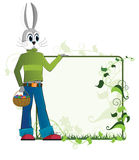 Easter rabbit  with a basket of eggs Royalty Free Stock Photography