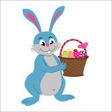 Easter rabbit with basket full of decorated easter eggs royalty free illustration