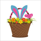 Easter rabbit in basket full of flower. Vector illustration Royalty Free Stock Photo