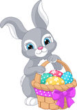 Easter Rabbit. Beautiful Easter rabbit with basket and eggs Stock Image