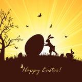 Easter rabbit and big egg Stock Photo