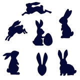 Easter rabbit black silhouette vector isolated on white  Stock Photography