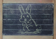 Easter Rabbit on blackboard Royalty Free Stock Image