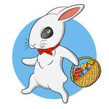Easter rabbit. Easter Bunny with basket of eggs. Vector illustration Royalty Free Stock Photos