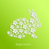 Easter Rabbit Bunny of White Flowers. Abstract Vector Easter Rabbit Bunny of White Flowers on Green Background. Valentines day card royalty free illustration