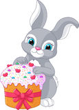 Easter Rabbit and Cake Stock Photo