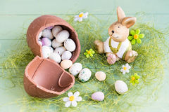 Easter rabbit with candy-eggs. Stock Images