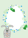 Easter rabbit card. Egg shaped greeting card with Easter rabbit Royalty Free Stock Photos