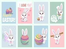 Easter rabbit cards. Baby rabbits cute and color eggs party invitation vector set vector illustration