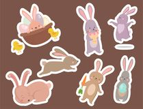 Easter rabbit character bunny different pose vector cute happy animal set illustration. Royalty Free Stock Photo