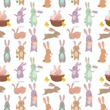 Easter rabbit character bunny seamless pattern background vector cute happy animal illustration. Stock Photos