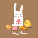 Easter rabbit and chick with easter eggs Stock Photo