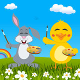 Easter Rabbit & Chick Painters & Rainbow Royalty Free Stock Photo