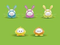 Easter Rabbit & Chicks. Vector illustration of some cute Easter Rabbit & Chicks Royalty Free Stock Photography