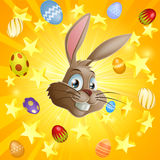 Easter rabbit and chocolate eggs Stock Photo