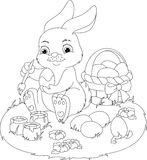 Easter Rabbit Coloring Page Stock Photo