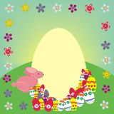 Easter rabbit composition. There is a pink bunny along with a yellow  egg shape text background and other ornamental colored eggs. All of them are placed in a Royalty Free Stock Photos