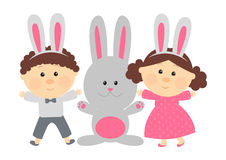 Easter rabbit with cute kids Stock Photos