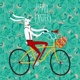 Easter rabbit cyclist illustration Stock Photography