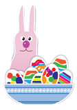 Easter rabbit and decorated Easter eggs Royalty Free Stock Images