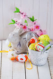 Easter rabbit and decorative eggs. Royalty Free Stock Photo